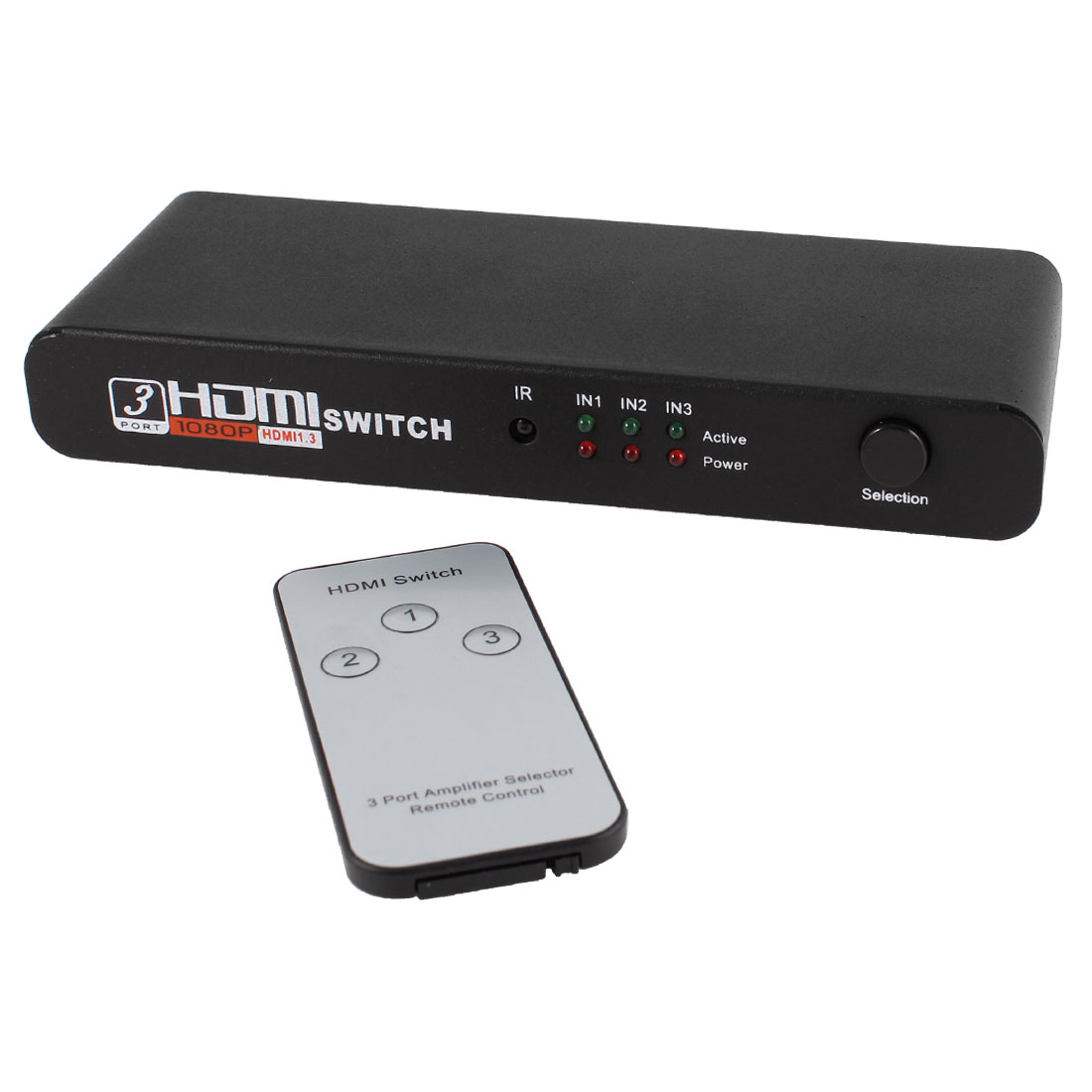 US Plug AC100-240V 3 Port 1080P Video HDMI Switch Splitter for DVD STB PC + IR Remote
