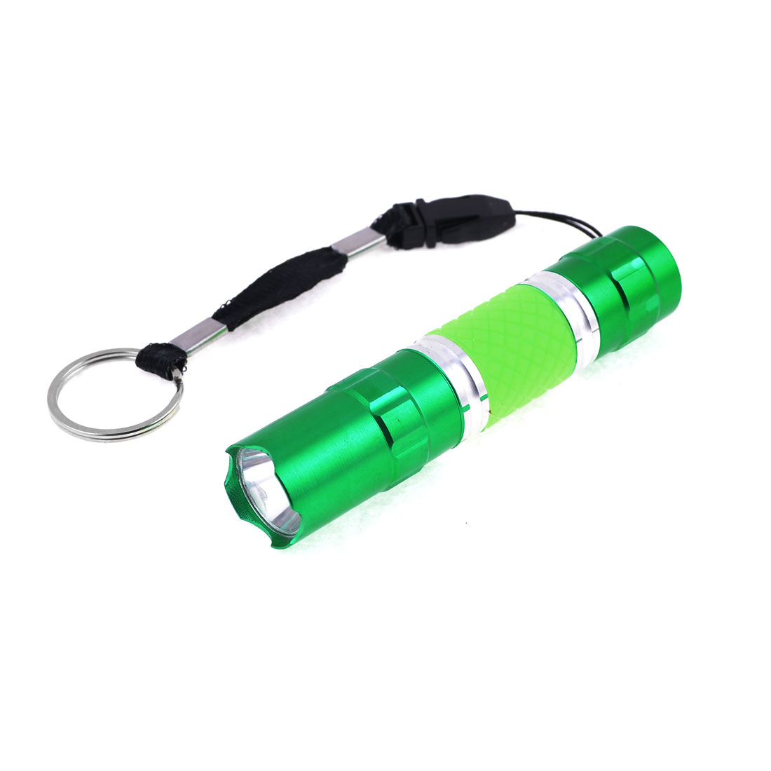 Compact 9.5cm Long Green Aluminum Shell White LED Torch Flashlight w Black Hand Strap