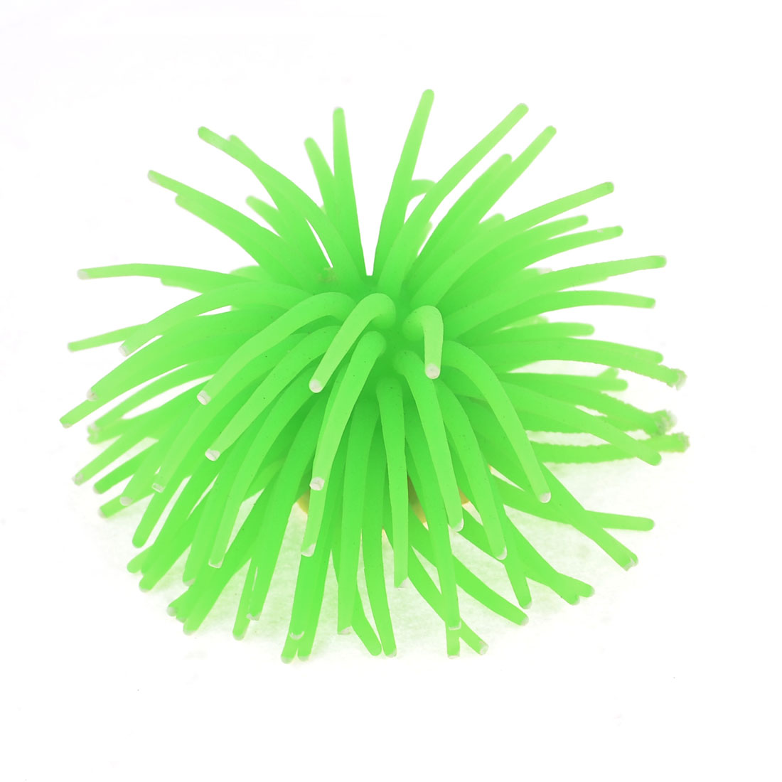 White Ceramic Base Green Silicone Aquarium Artificial Decoration Anemone