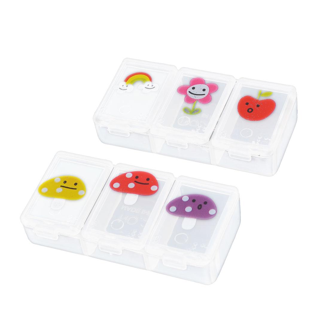 2 Pcs Clear Rectangle Plastic 3 Compartments Mini Medicine Pills Storage Case Box