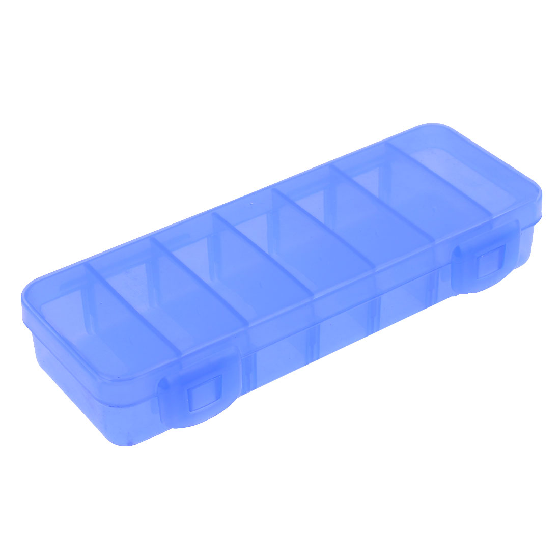 Family Blue Rectangle Plastic 7 Compartments Medicine Pills Storage Case Box