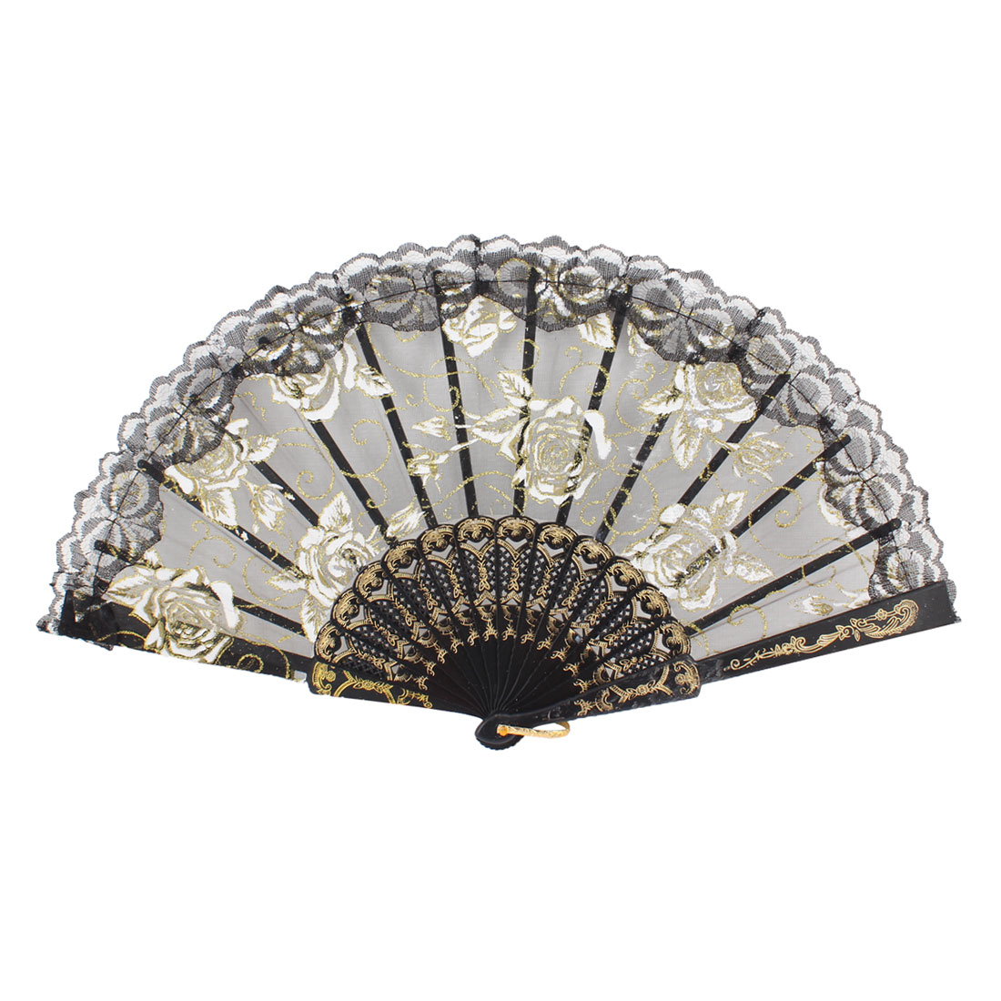 White Shiny Sequin Floral Decor Black Folding Organza Hand Fan for Woman Dancing