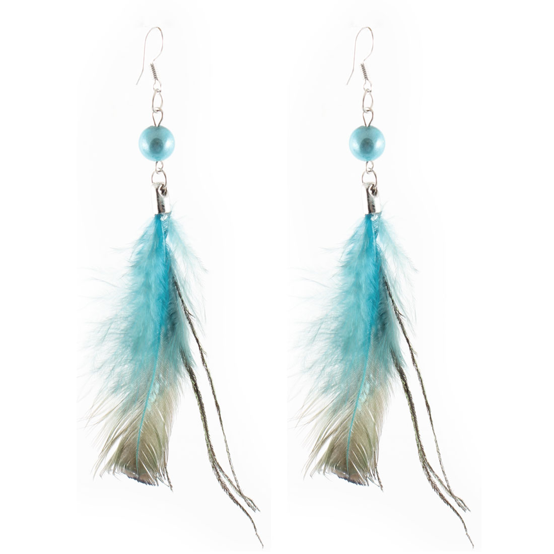 "Lady Girl Turquoise Faux Feather Fish Hook Earrings 4.3"" Length Pair"