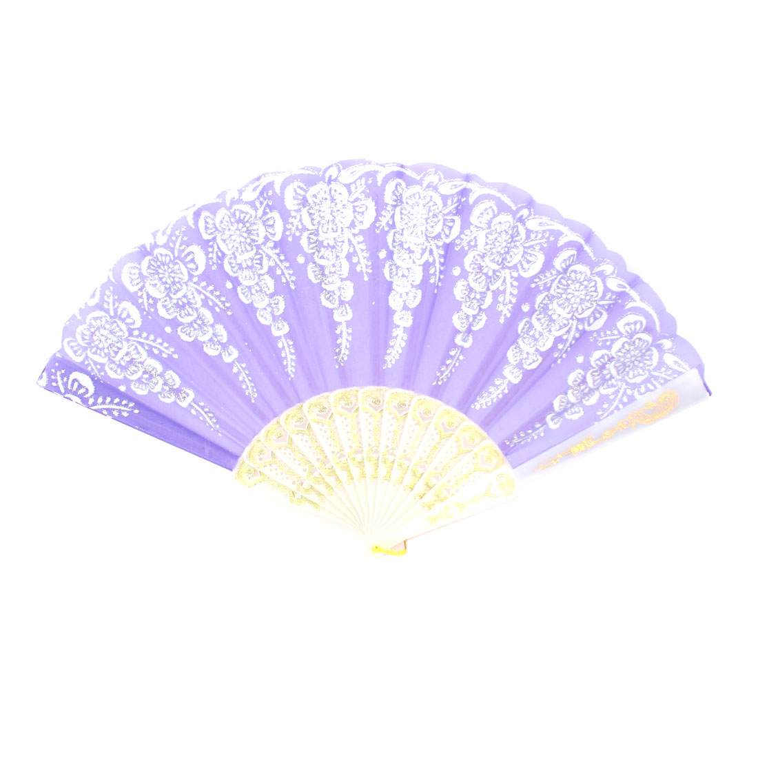 Shiny Sequin Floral Decor Purple Folding Cloth Hand Fan for Women Dancing