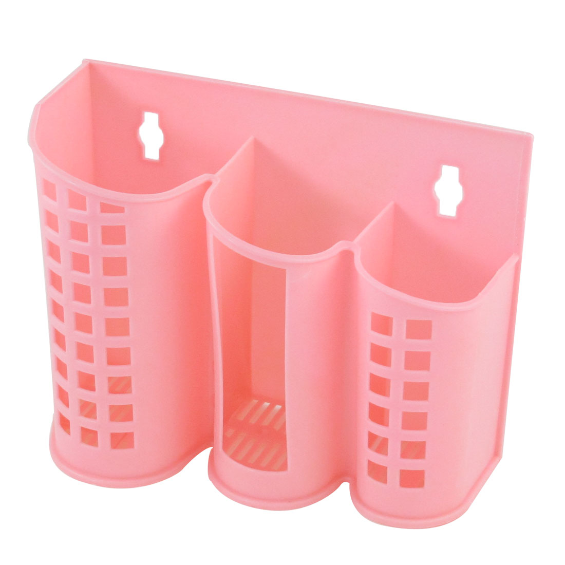 Restaurant 3 Compartments Baby Pink Plastic Chopsticks Fork Box Organizer