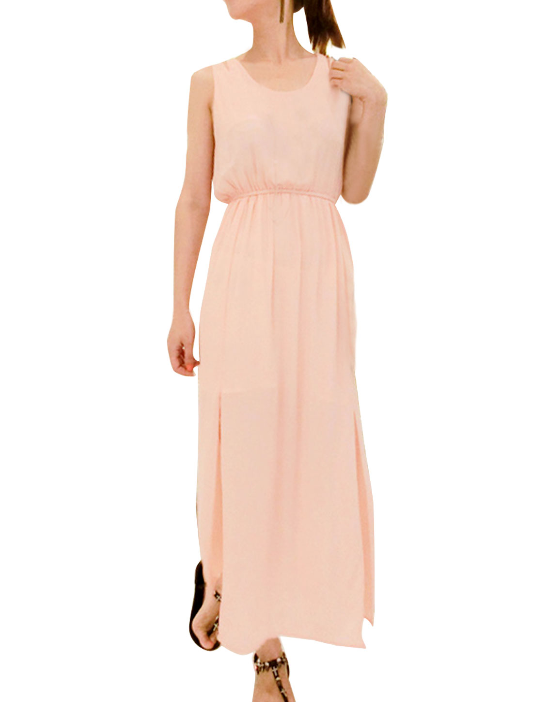 Women's Round Neck Sleeveless Sweet Pink Summer Chiffon Dress S