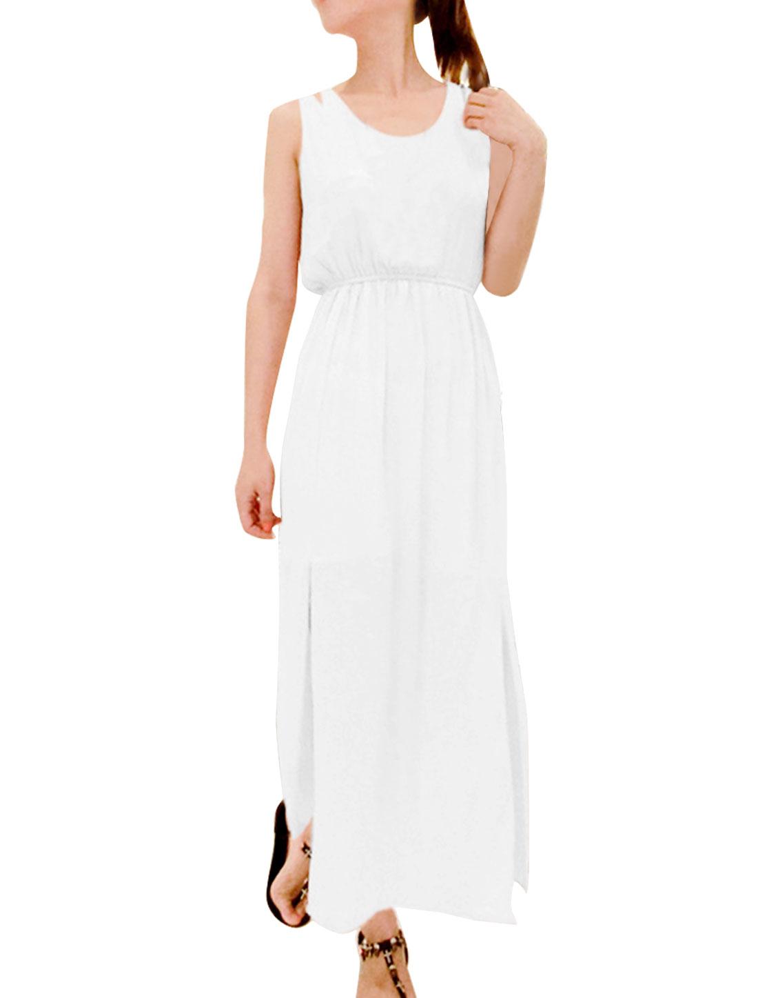 Women's Round Neck Stretchy-waist Stylish Beach White Long Chiffon Dress S