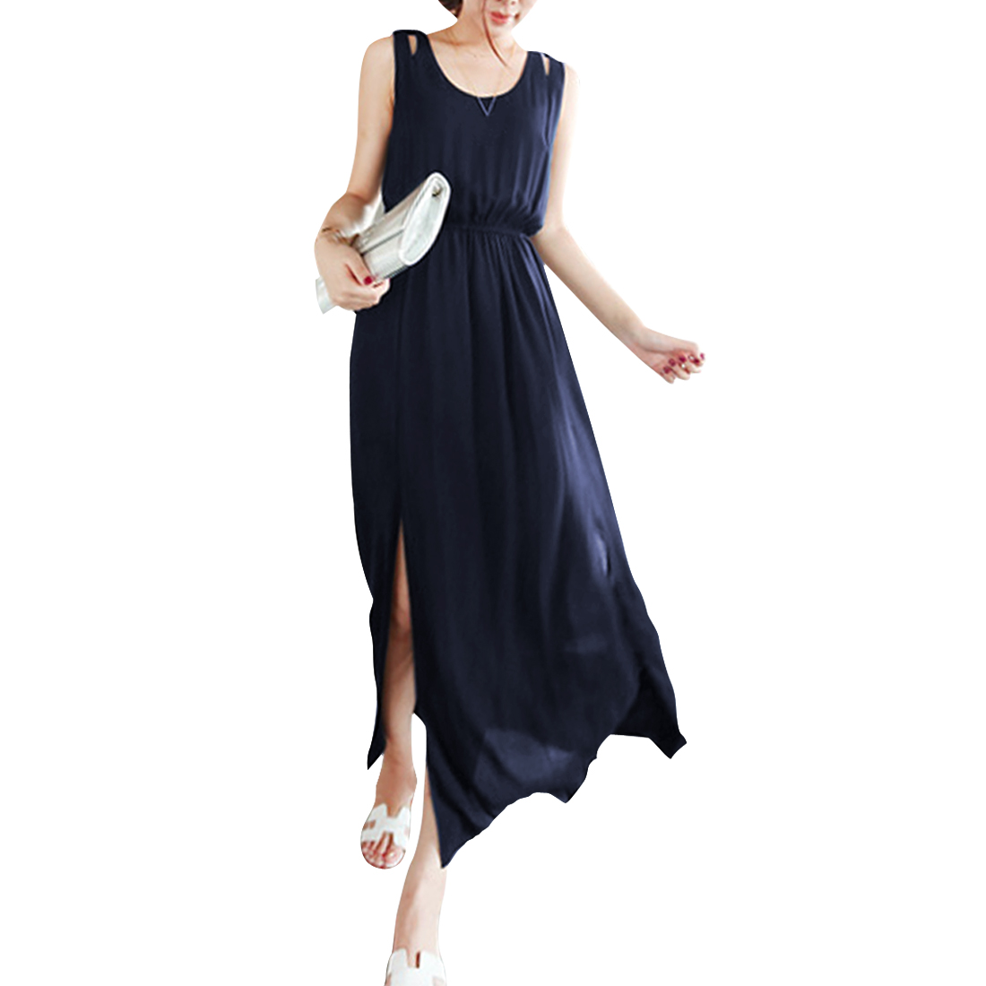 Women's Round Neck Sleeveless Navy Blue Elastic Waist S Chiffon Dress