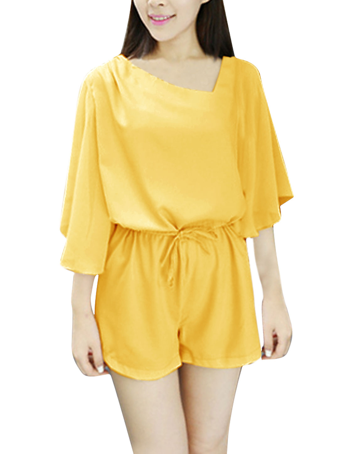 Women Asymetric Neck Zip Up Back Casual Romper Yellow XS