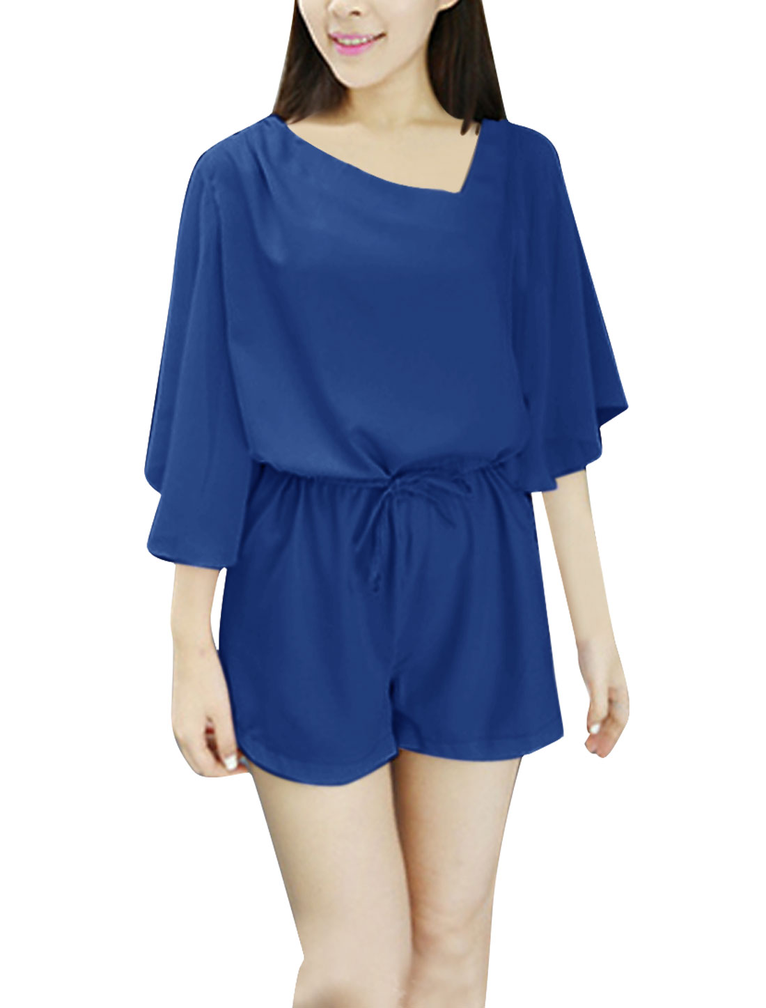 Women Zip Up Drawstring Waist Summer Romper Royal Blue XS