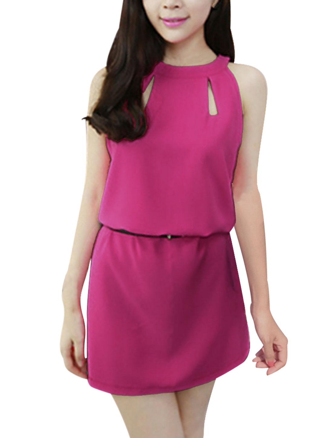 Women Halter Neck Zip Closure Back Casual Dress Fuchsia XS