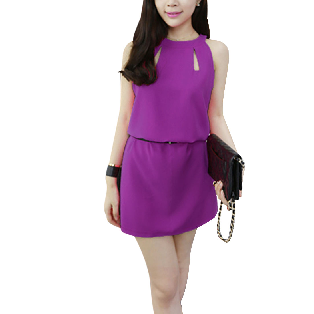 Women Halter Neck Sleeveless Cut Out Dress Violet XS