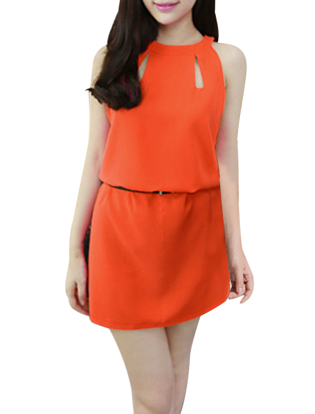 Women Zip Closure Back Sleeveless Belt Dress Orange XS