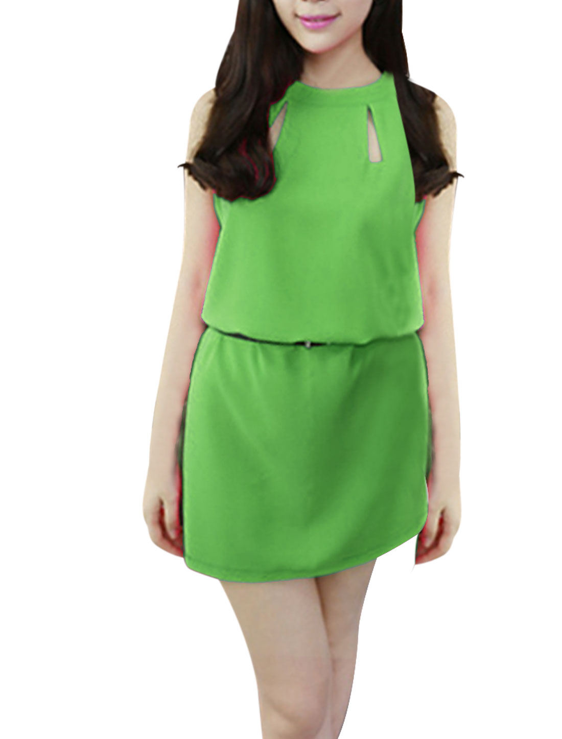 Women Zip Up Back Summer Wearing Shift Dress Green XS