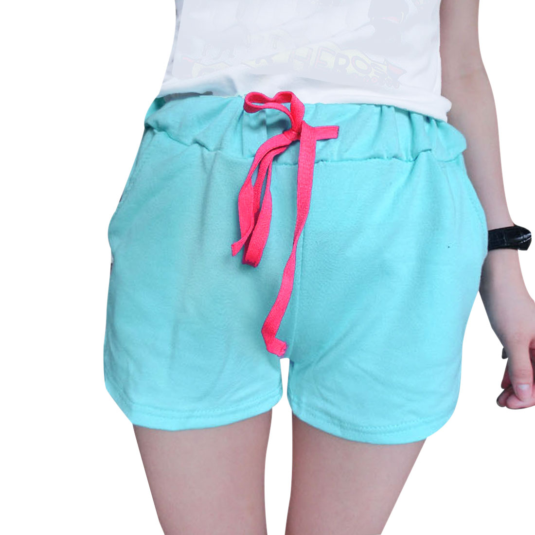 Women Slant Pockets Front Sweet Classic Shorts Aqua XS