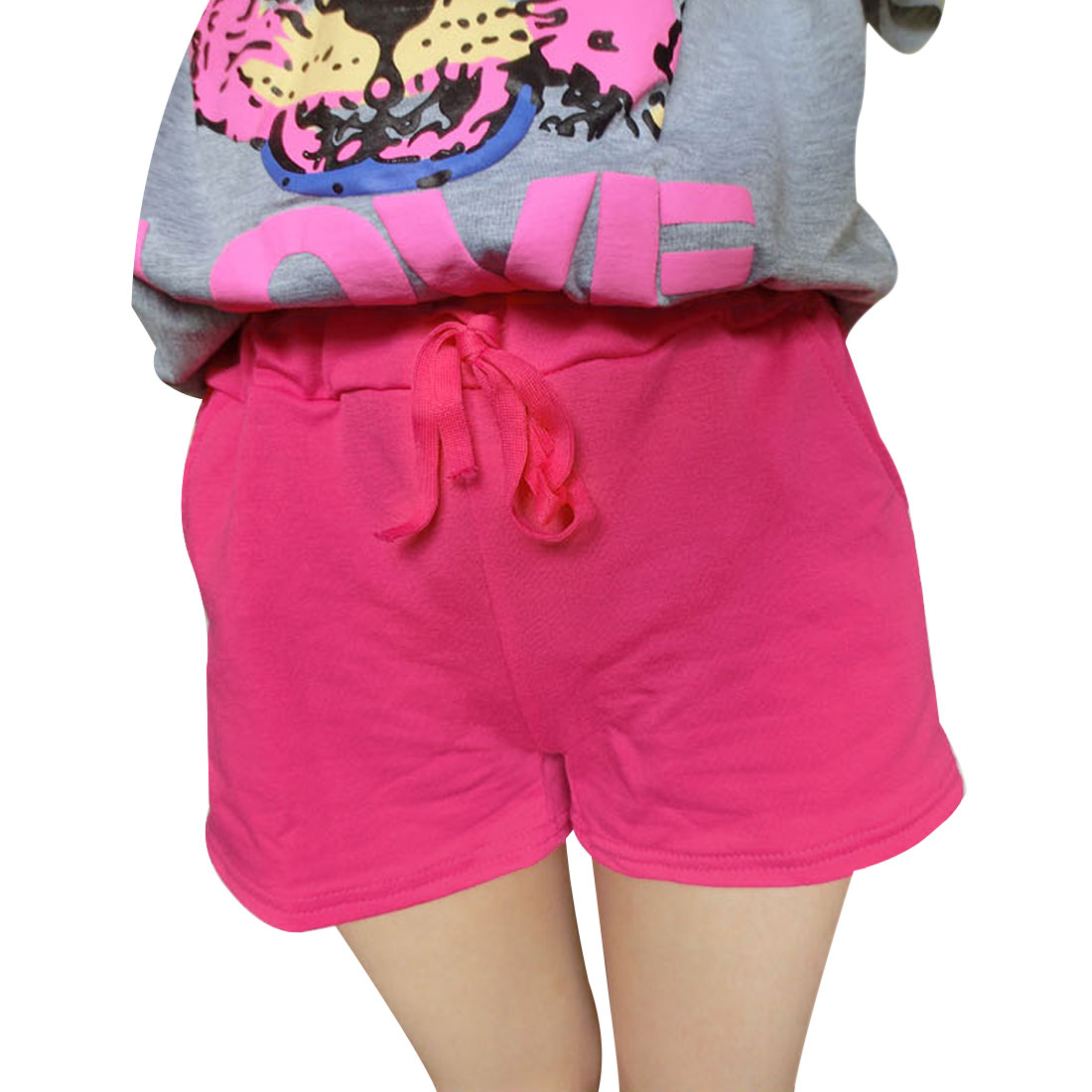 Women Elastic Waist Ribbing Soft NEWS Shorts Fuchsia XS
