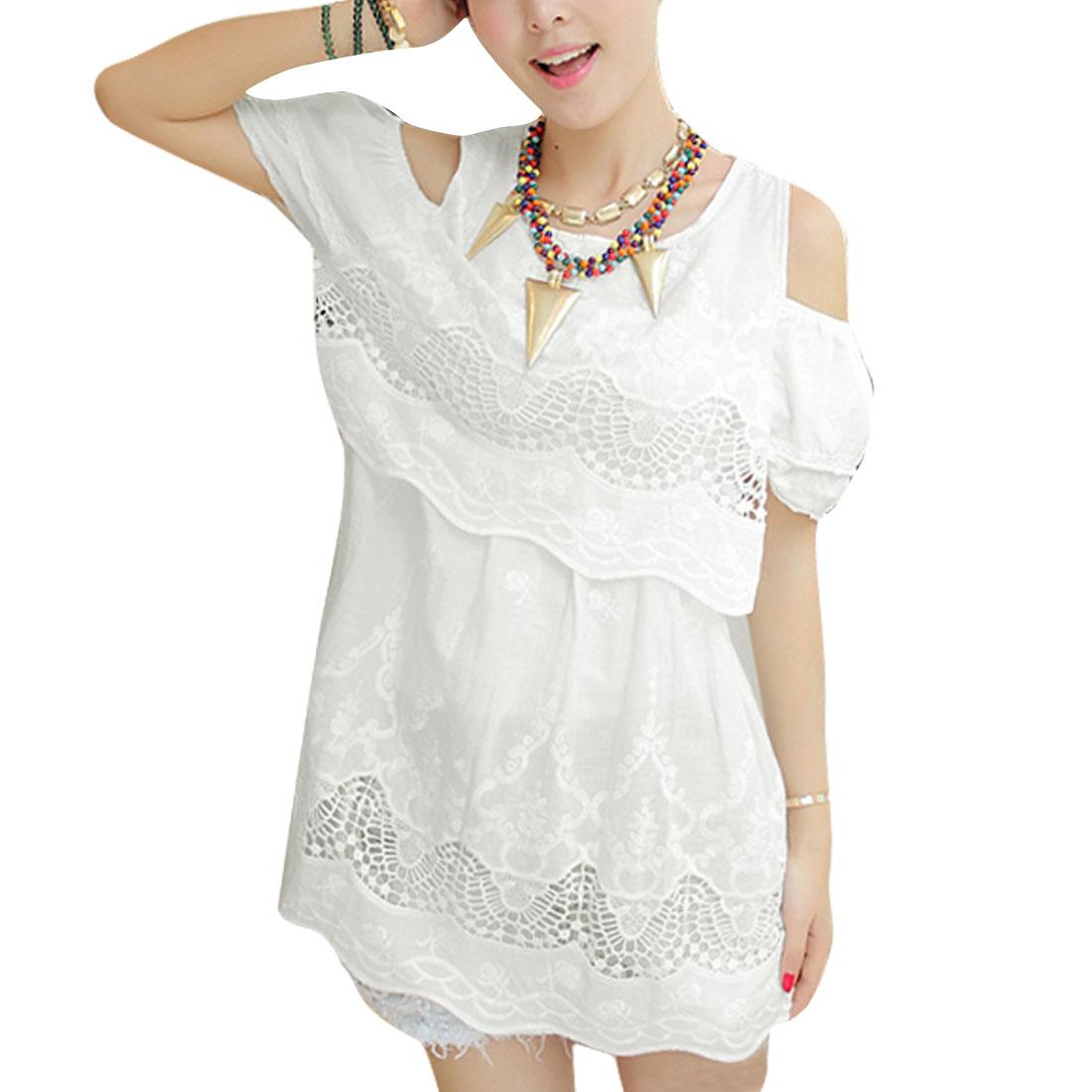 Women S White Off Shoulder Design Round Neck Semi Sheer Pullover Dress