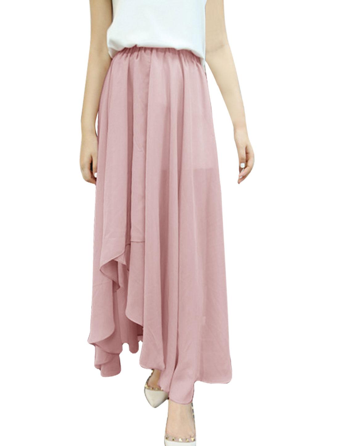 Ladies Chic Asymmetric Hem Design Pure Pink Lined Long Skirt