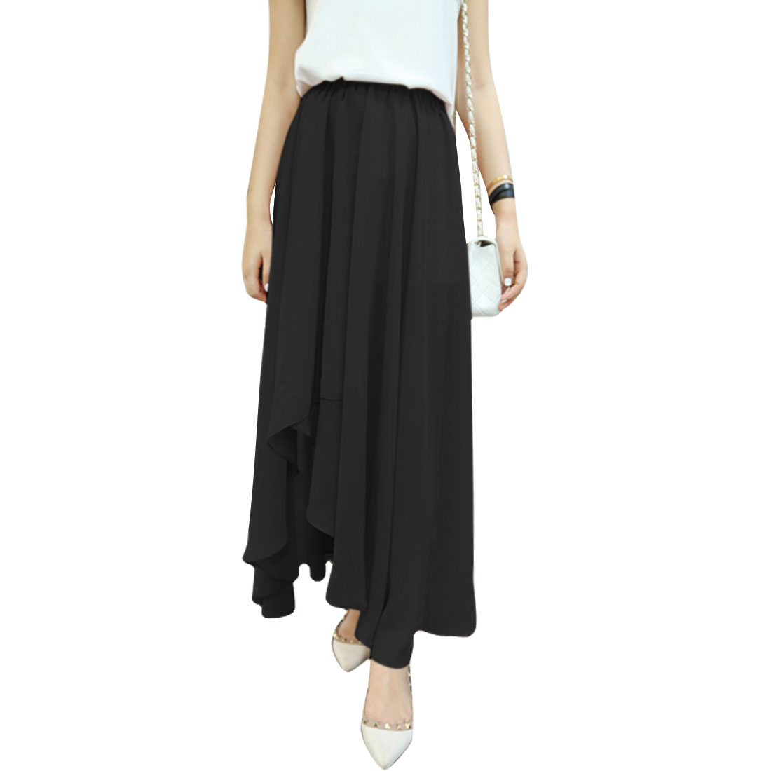 Woman Chic Elastic Waist Irregular Hem Design Black Chiffon Long Skirt XS