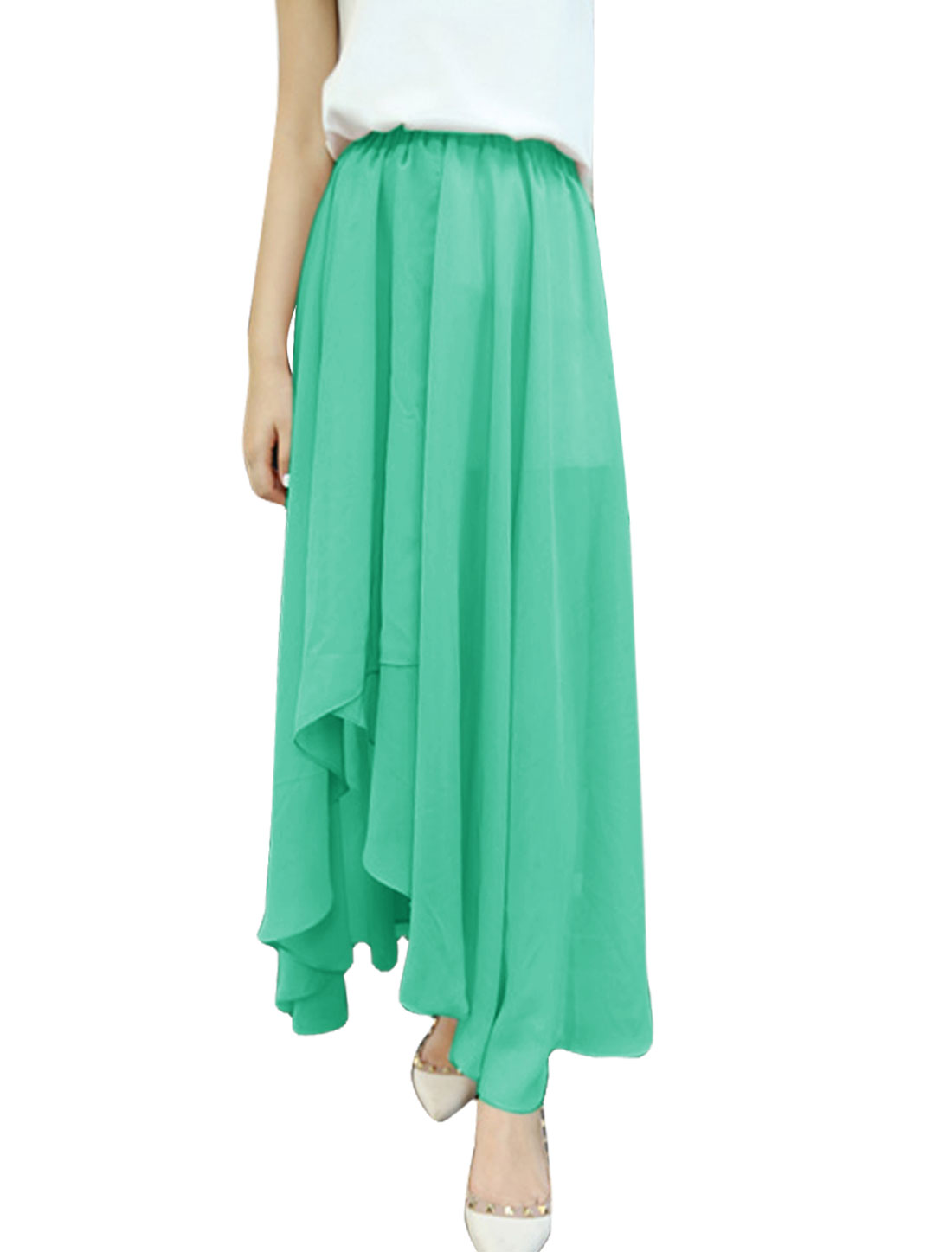 Stylish Mint Color Irregular Hem Ddesign Long Chiffon Skirt XS for Lady