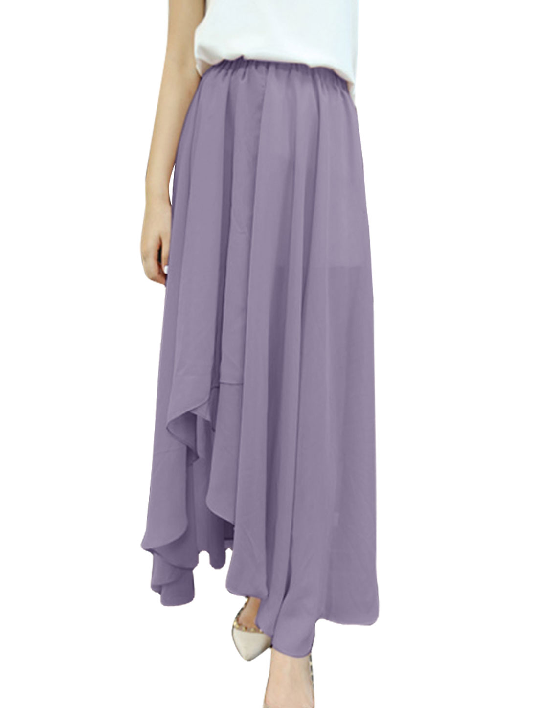 Stylish Ladies Light Purple Asymmetric Hem Casual Chiffon Long Skirt XS