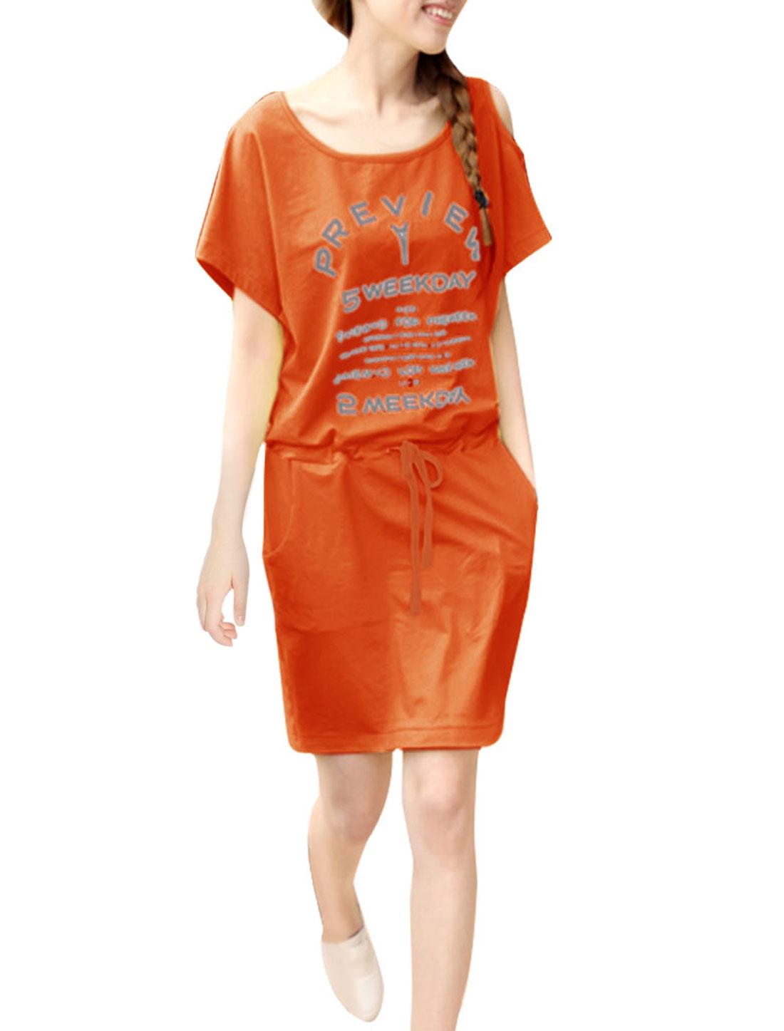 Woman S Orange Dolman Sleeve Cutout Shoulder Drawstring Above Knee Dress