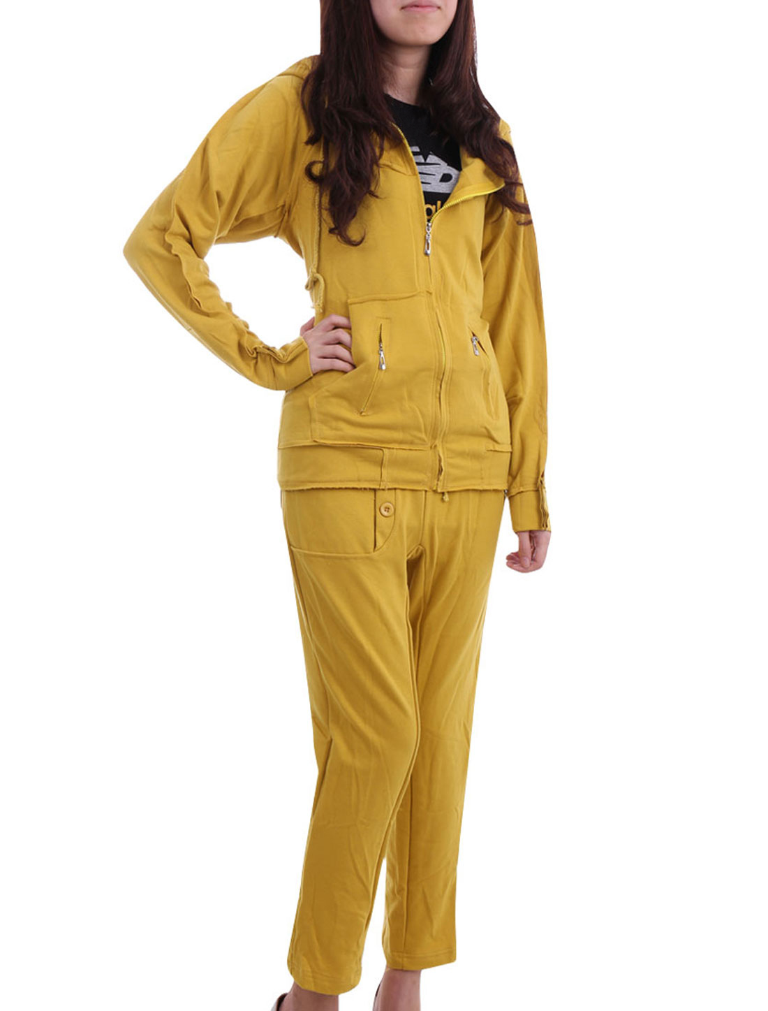 Women Curry XS Long Sleeve Zipper Front Hoodie w Drawstring Waist Pants