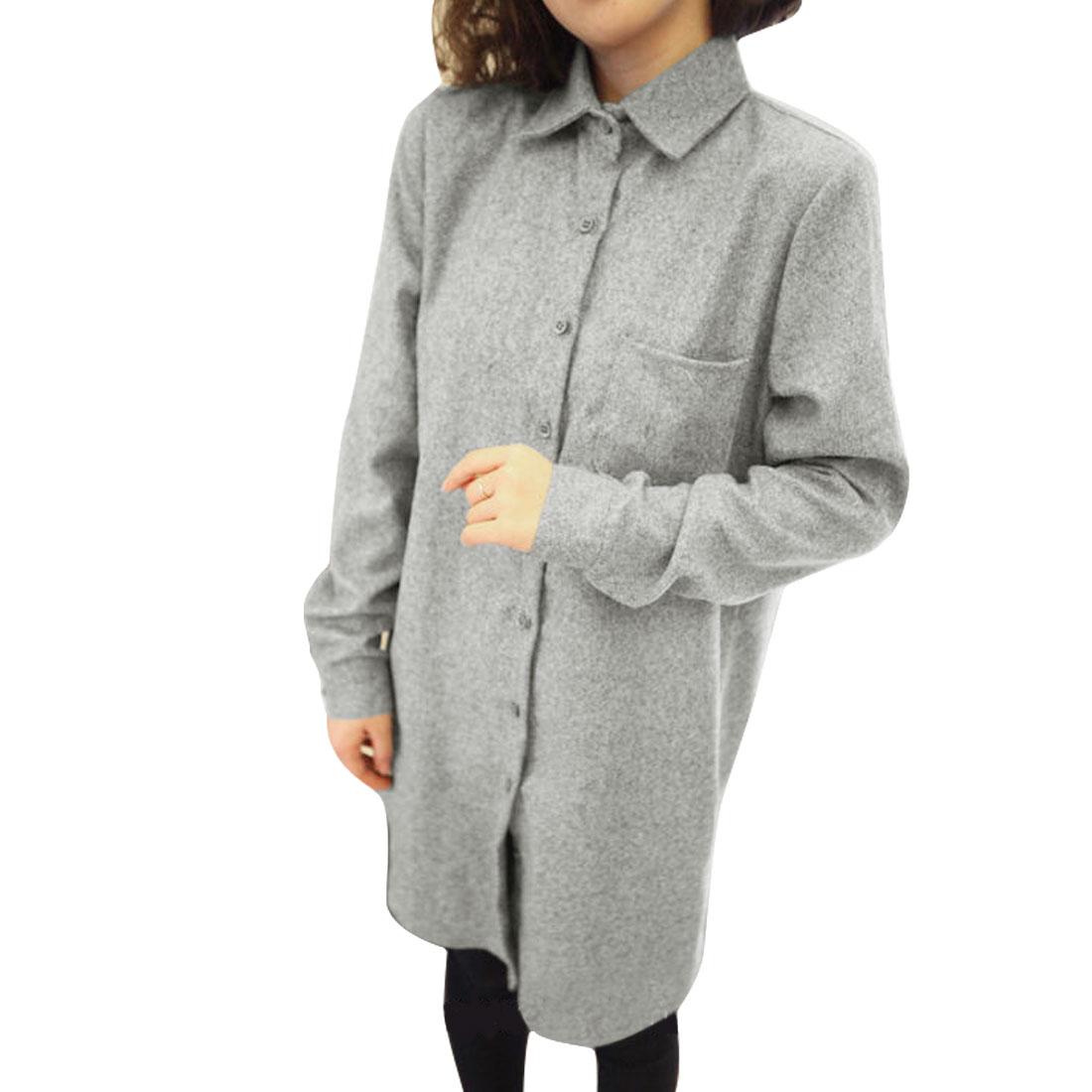 Women Point Collar Button Up Soft Shirt Light Gray S