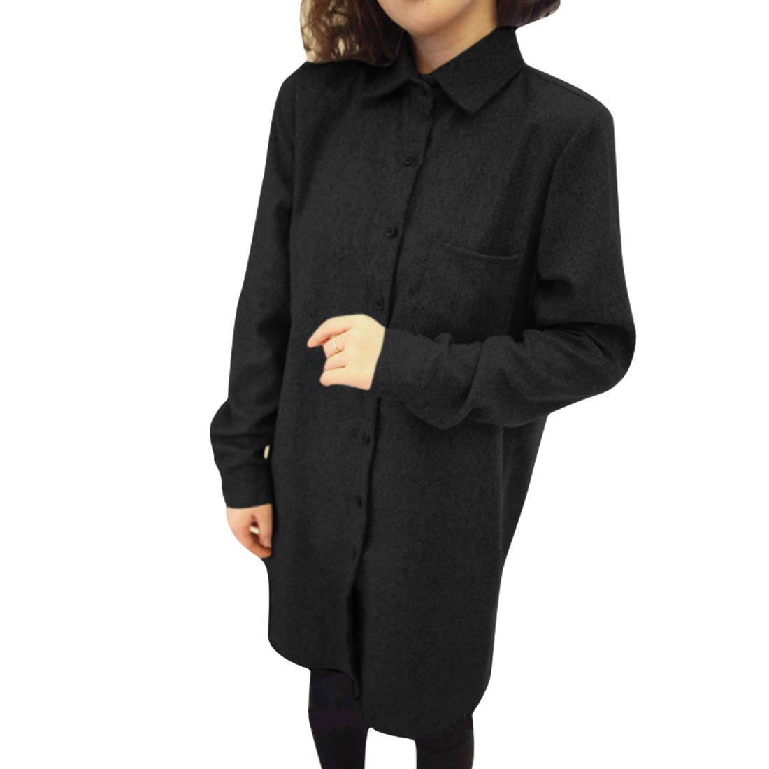 Women Button Up Long Sleeve Chest Pocket Shirt Black S