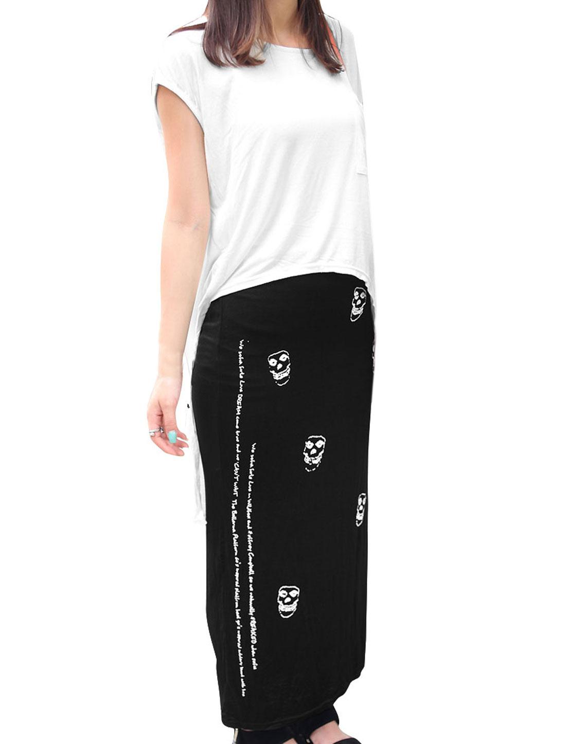 Women White Black XS Round Neck High Low Hem Top w Skull Pattern Dress