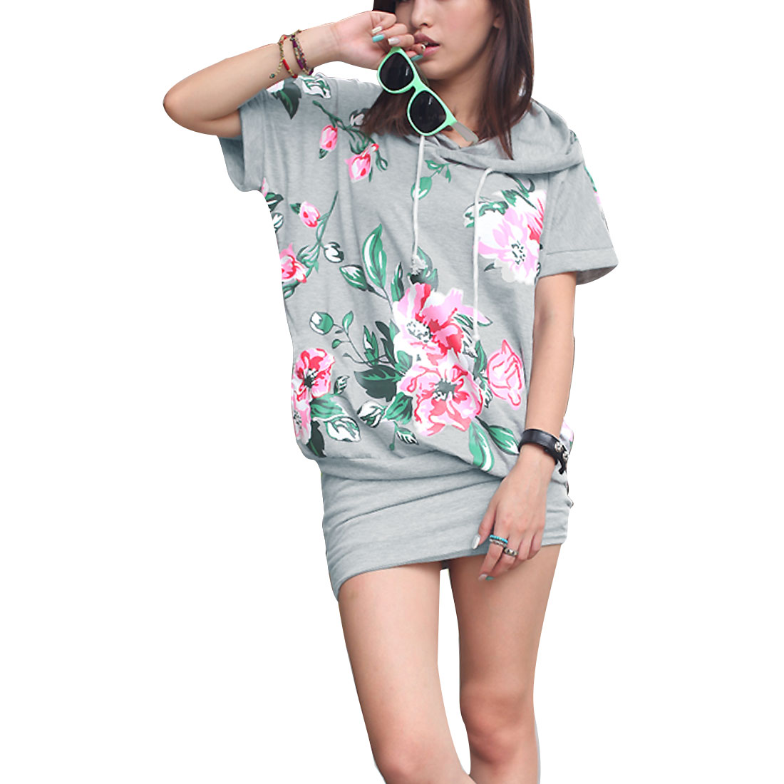 Women Grey S Dolman Sleeve Design Floral Pattern Hip Tight Casual Dress