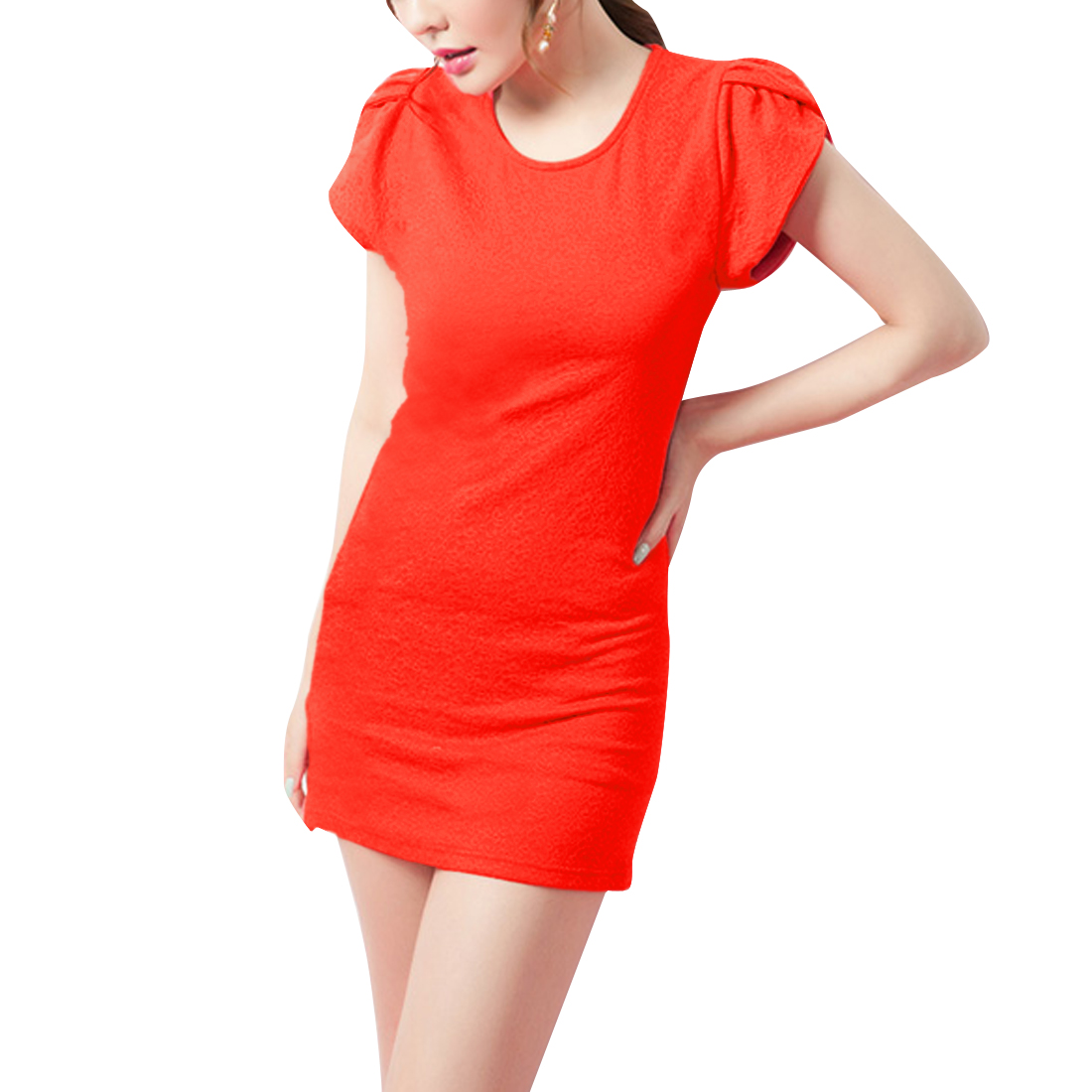 Orange Red XS Pullover Style Hip Tight Cap Sleeve Summer Dress for Ladies