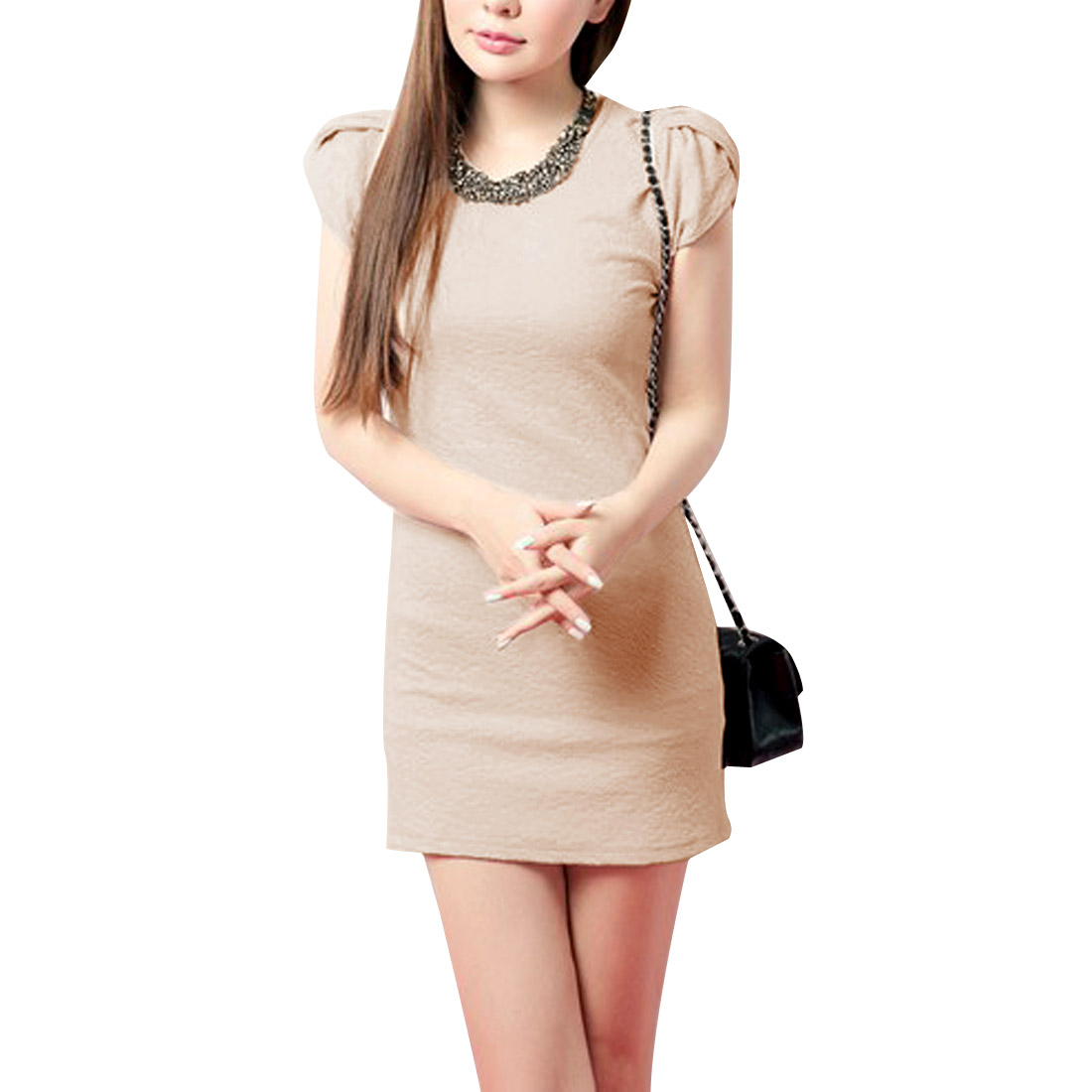 Women Light Pink XS Round Neck Solid Color Cap Sleeve Design Pullover Dress