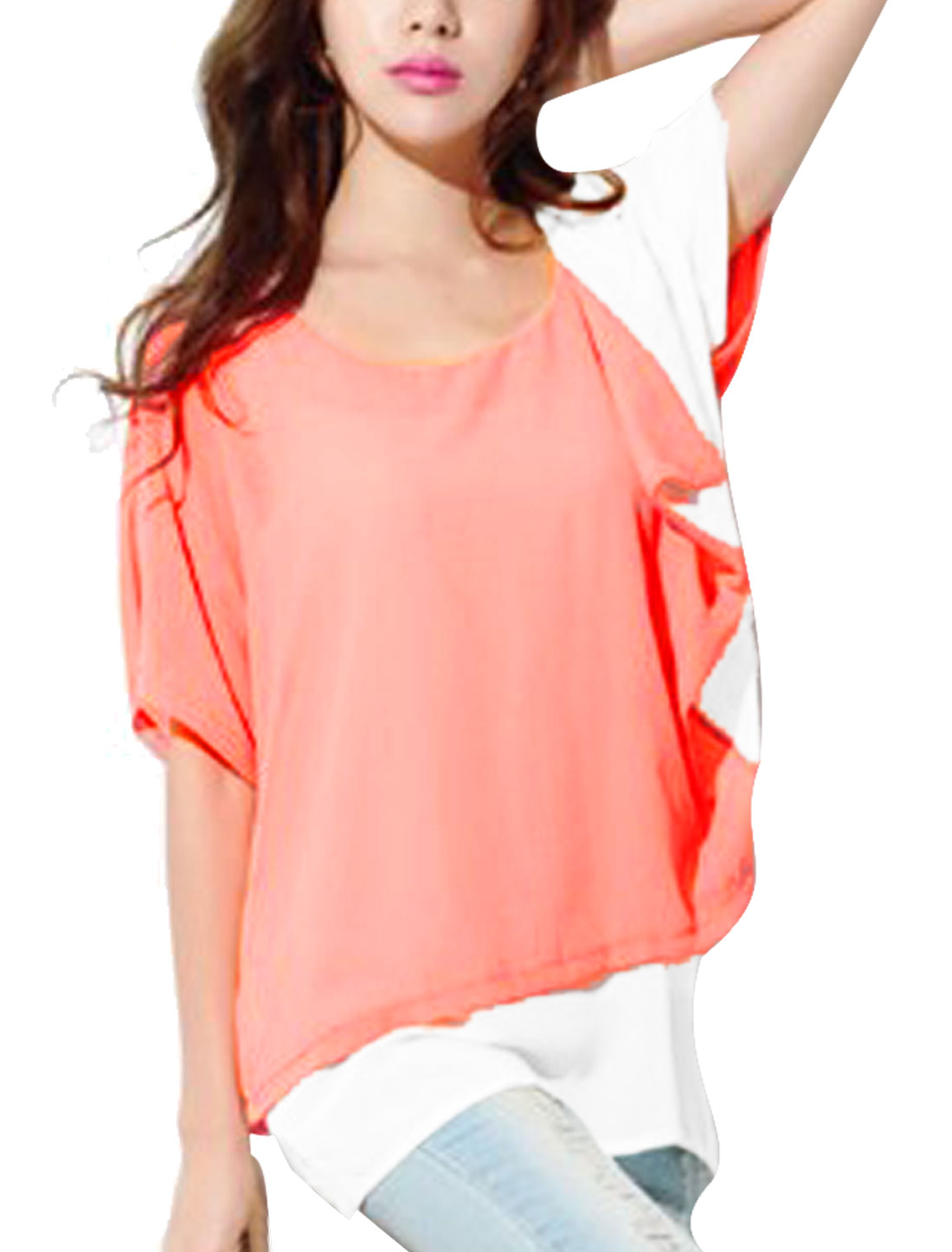 Women S Pink Dolman Sleeve Round Neck Two Tone Color Block Tunic Shirt
