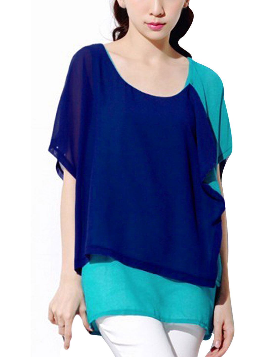 Navy Blue S See Through Color Block Fashion Two Tone Tunic Shirt for Ladies