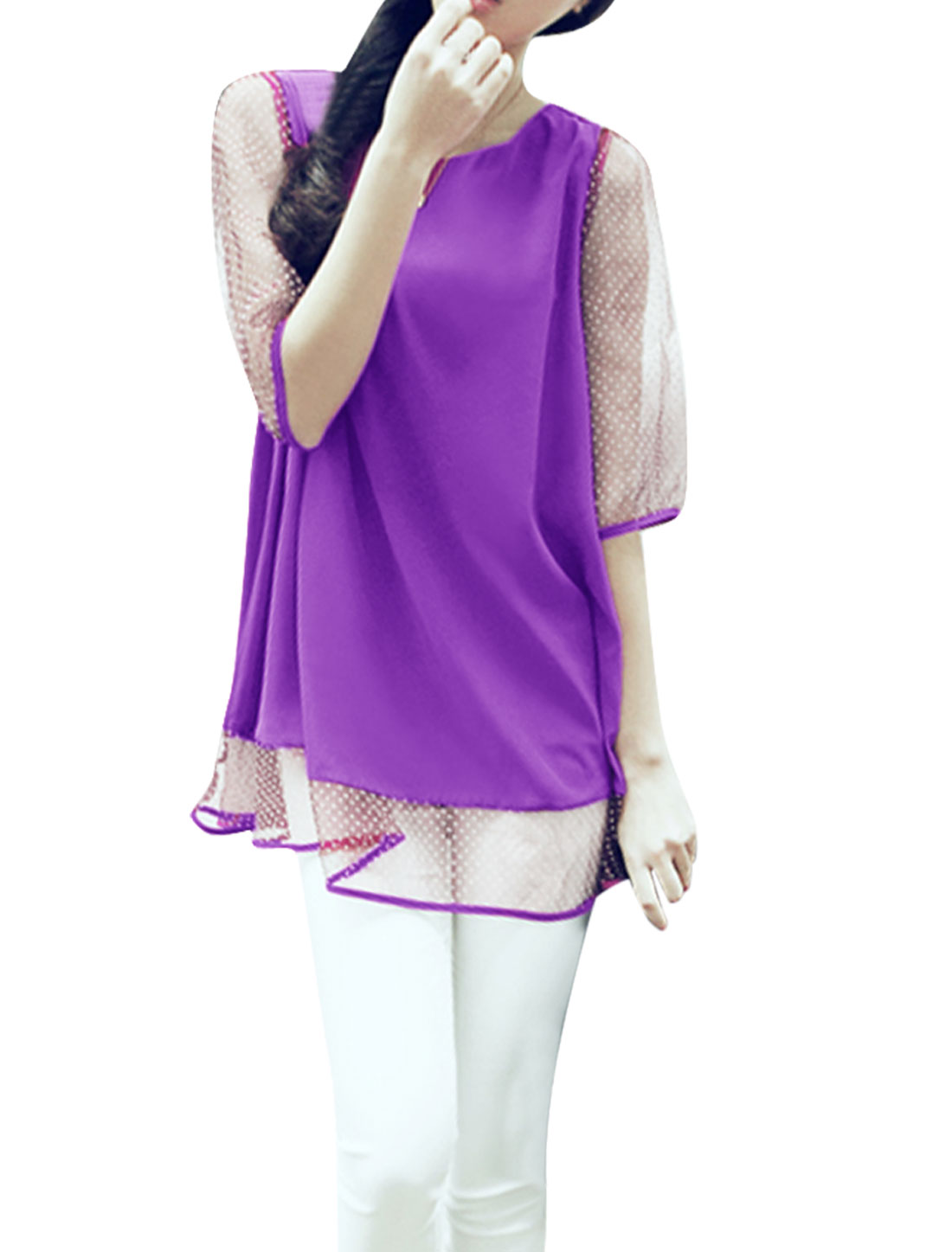 Women Purple XS Half Sleeve Design Round Neck Semi Sheer Casual Tunic Shirt