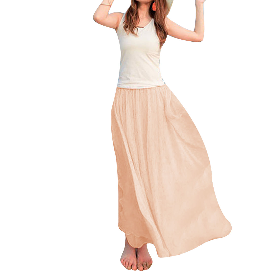 Women Stretchy Waist Semi Sheer Skirt Apricot XS