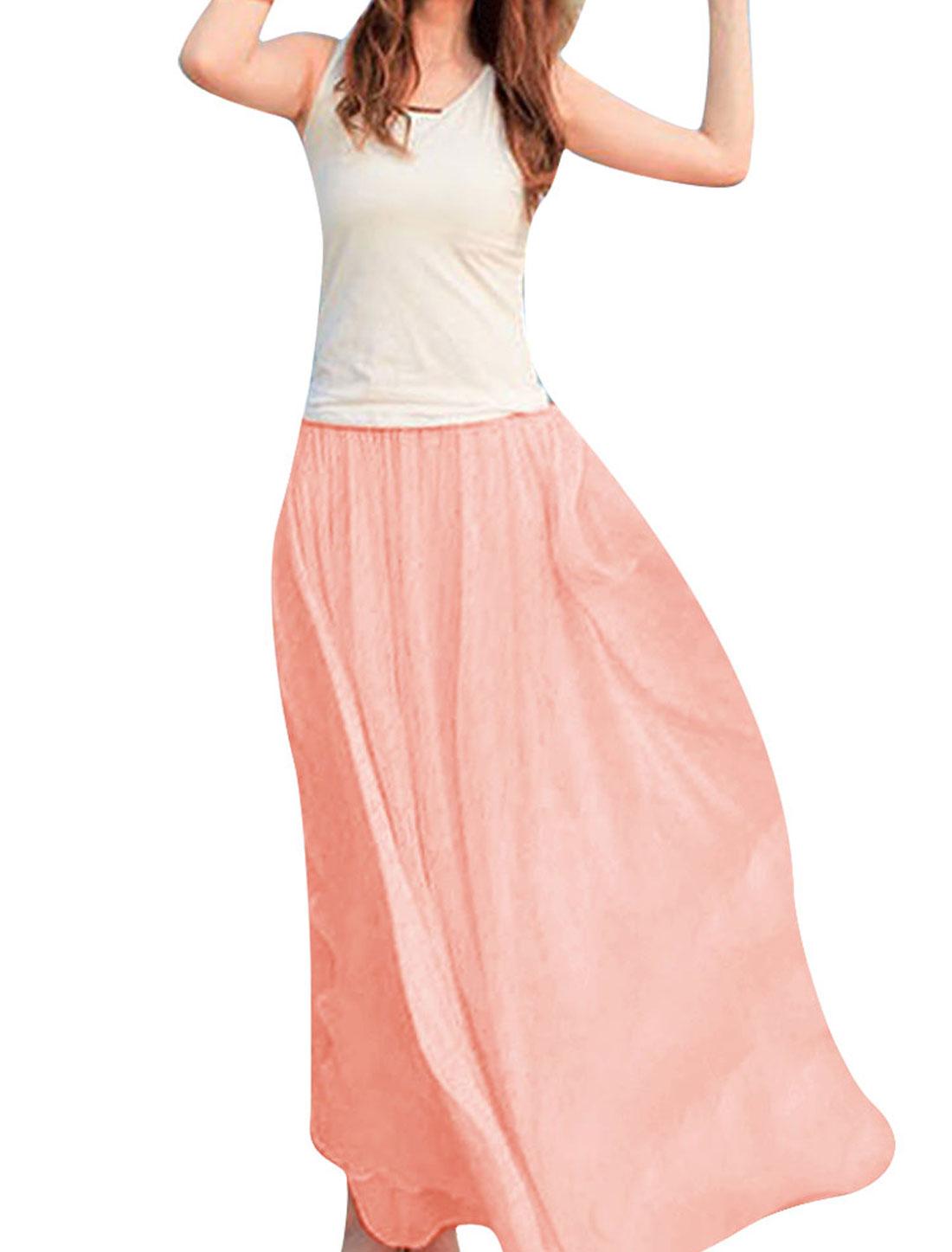 Women Lining Full-Length Summer Skirt Pink XS