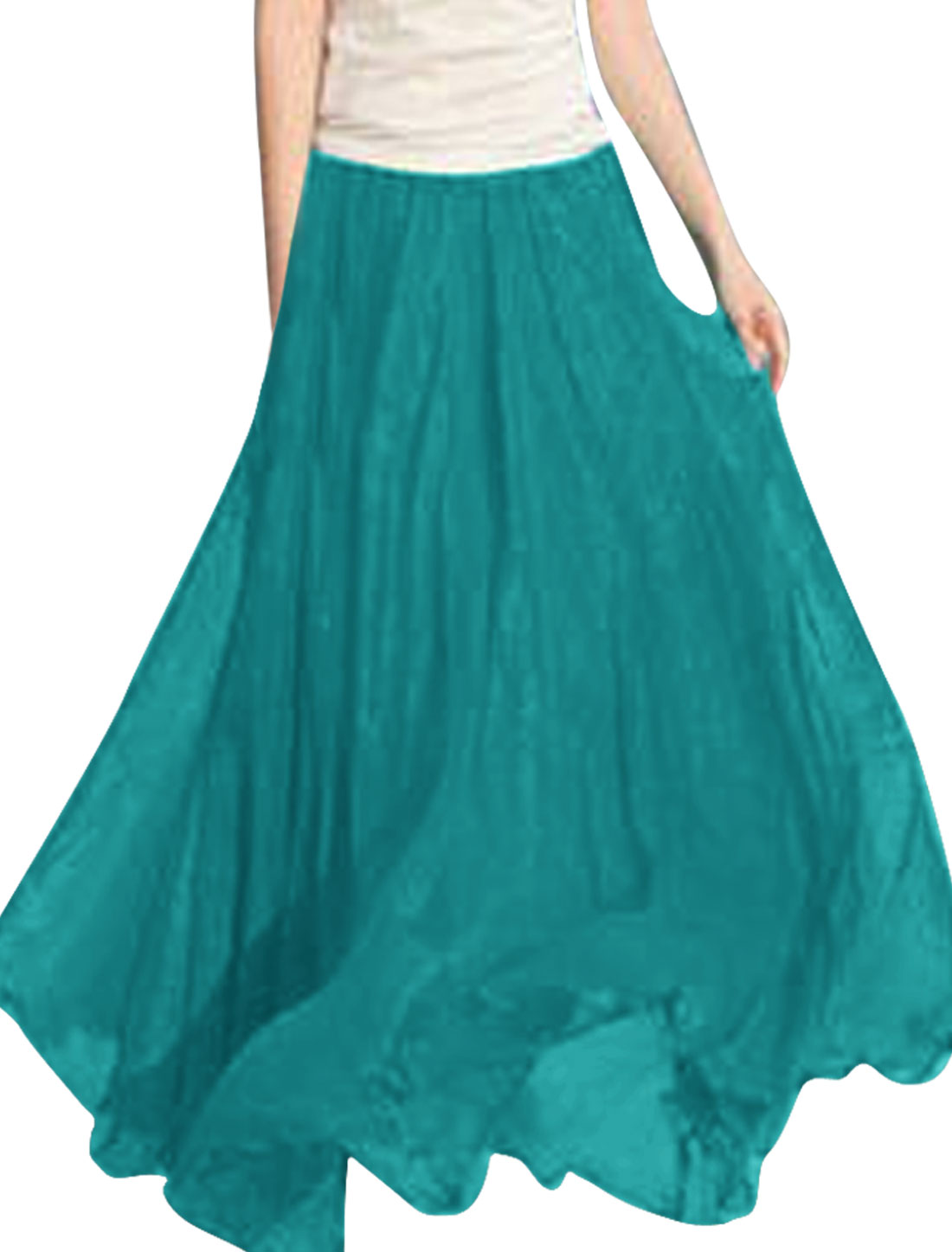 Women Ruched Detail Sweet Fashion Skirt Aqua XS