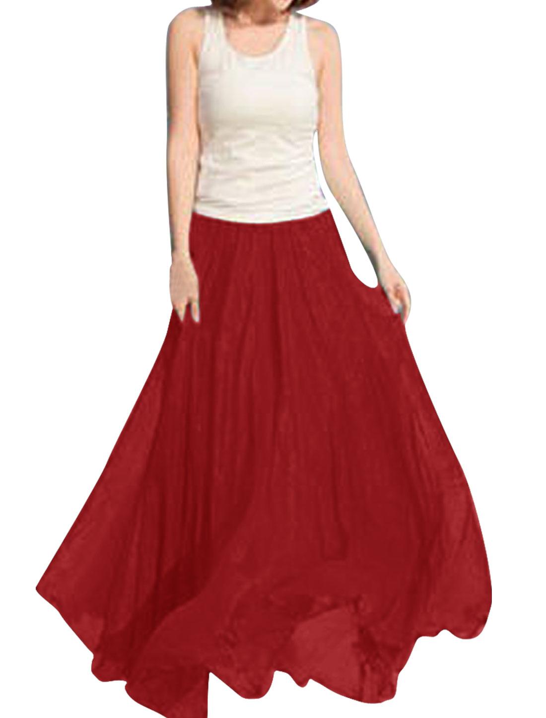 Women Elastic Waist Summer Wearing Skirt Red XS