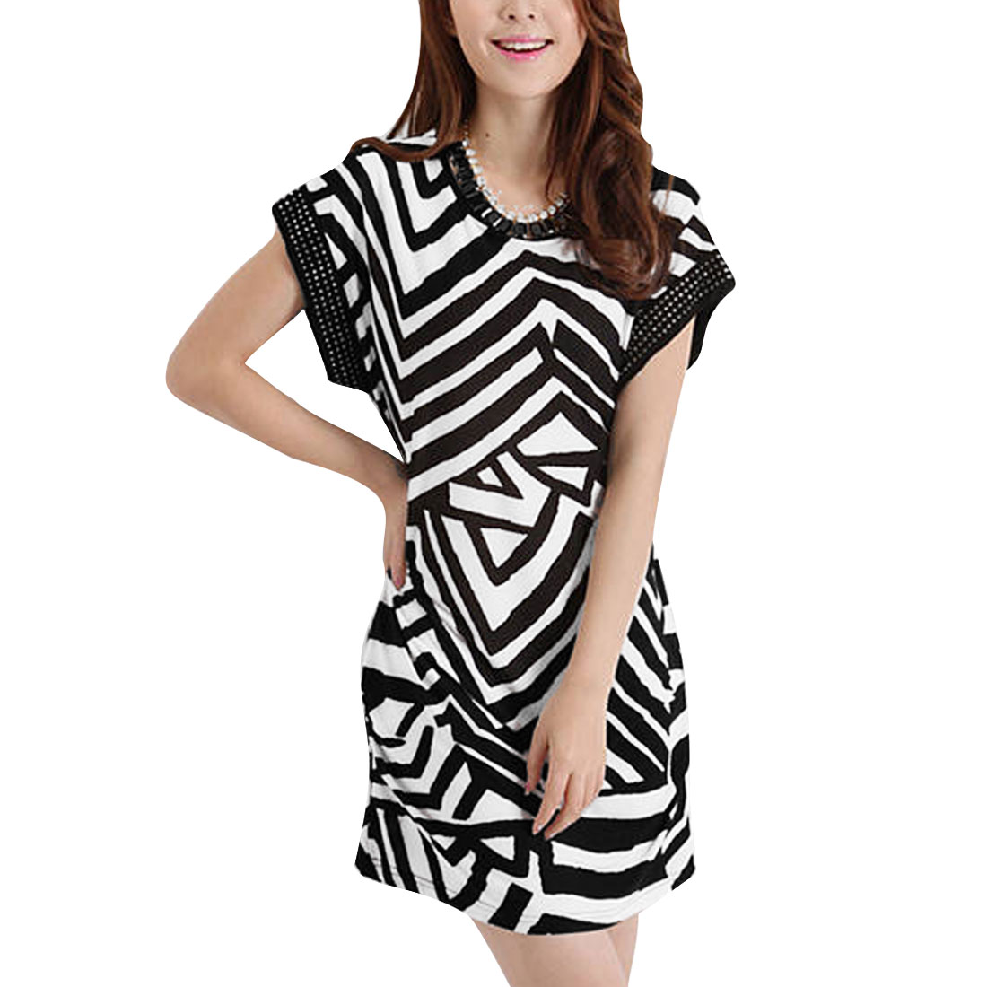Women Round Neck Stripes Sequin Decor Straight Dress Black White XS