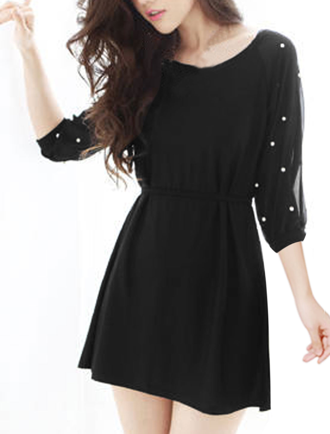 Women Dolman Sleeves Chiffon Panel Beads Decor Tunic Dress Black S