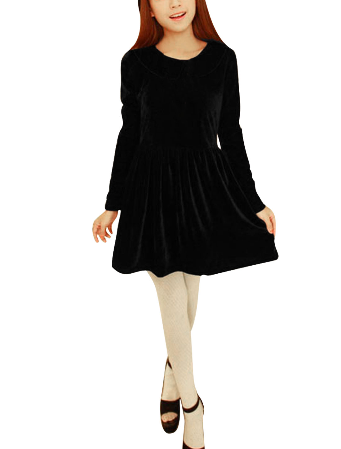 Women's Peter Pan Collar Long Sleeves Stretchy Velvet Black Dress XS