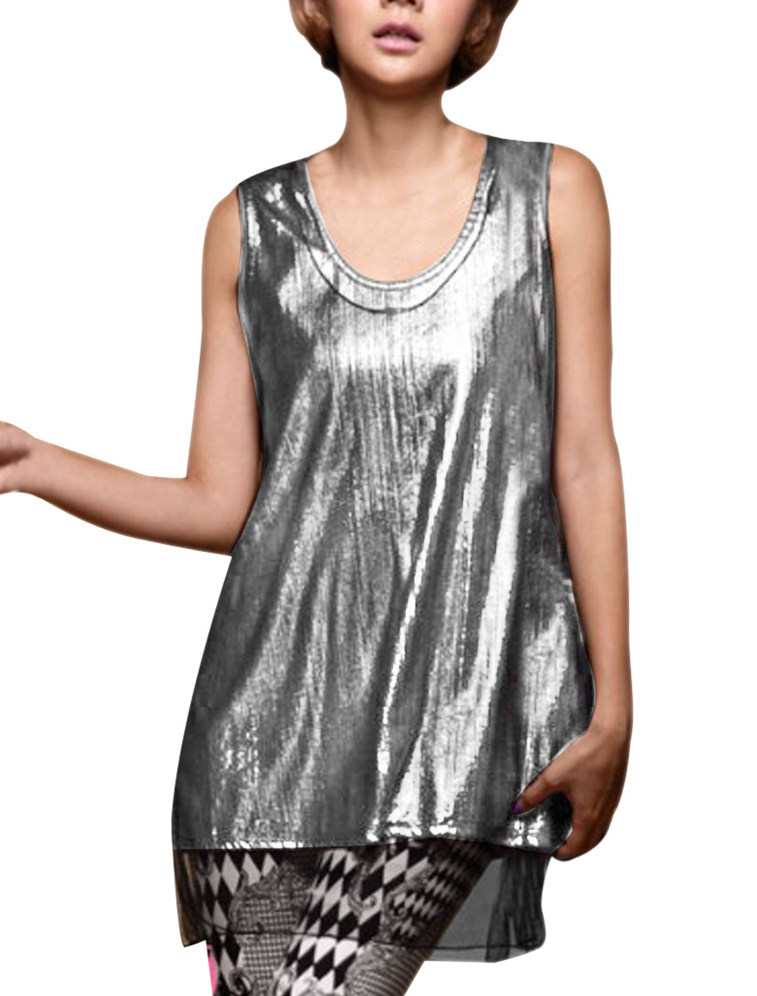 Women's Round Neck Two Pieces Stretchy Metallic PVC Mesh Silver Tone XS Tank Top