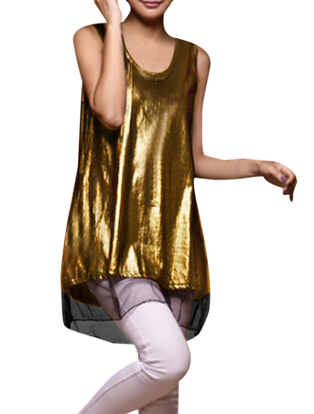 Women's Round Neck Two Pieces Elastic Metallic Sexy Golden Tone Tank Top XS