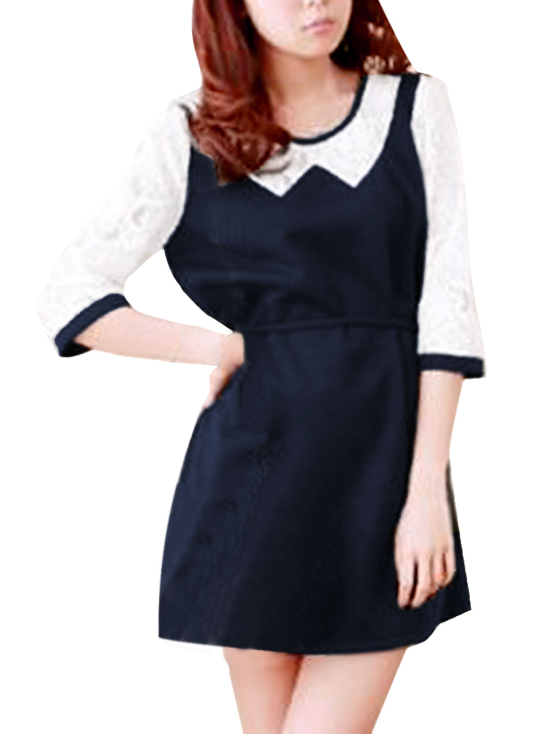 Women's Round Neck Patchwork Lace Sleeves Belted Navy Blue Dress S