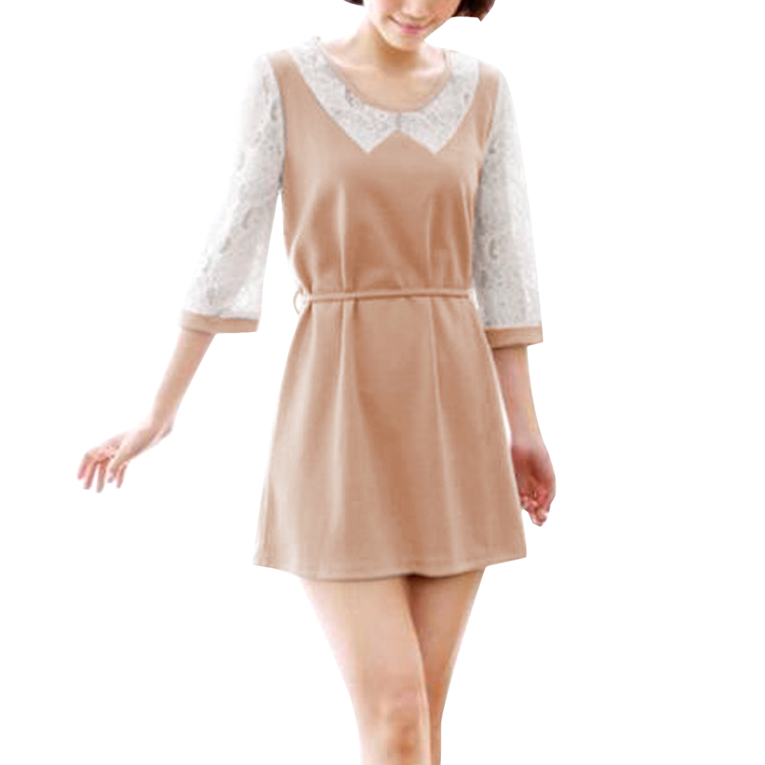 Women's Round Neck 3/4 Lace Sleeves Autumn Sweet Pale Pink S Dress