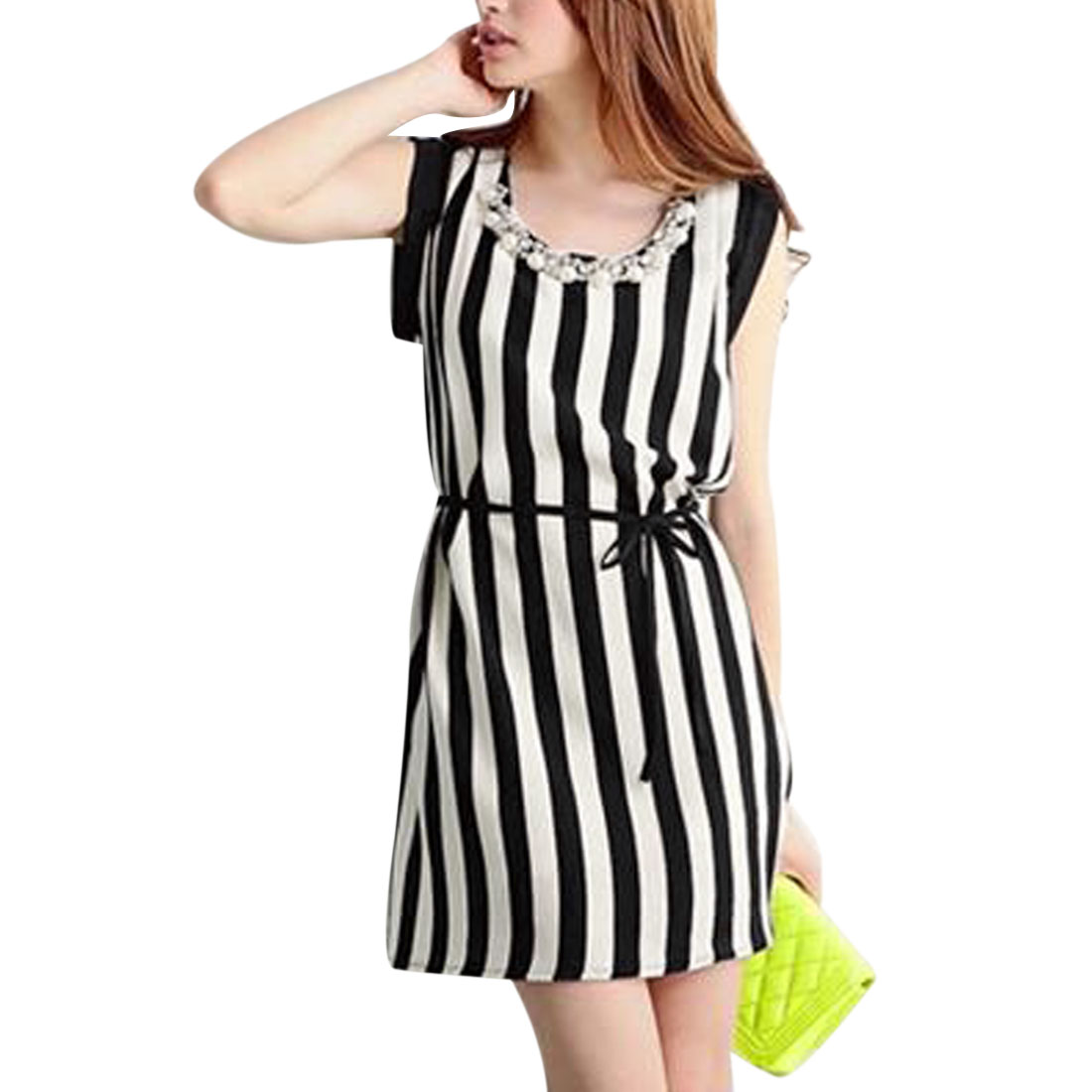 Women's Round Neck Removeable Pearl Decor Black White Stripes Chiffon Dress XS