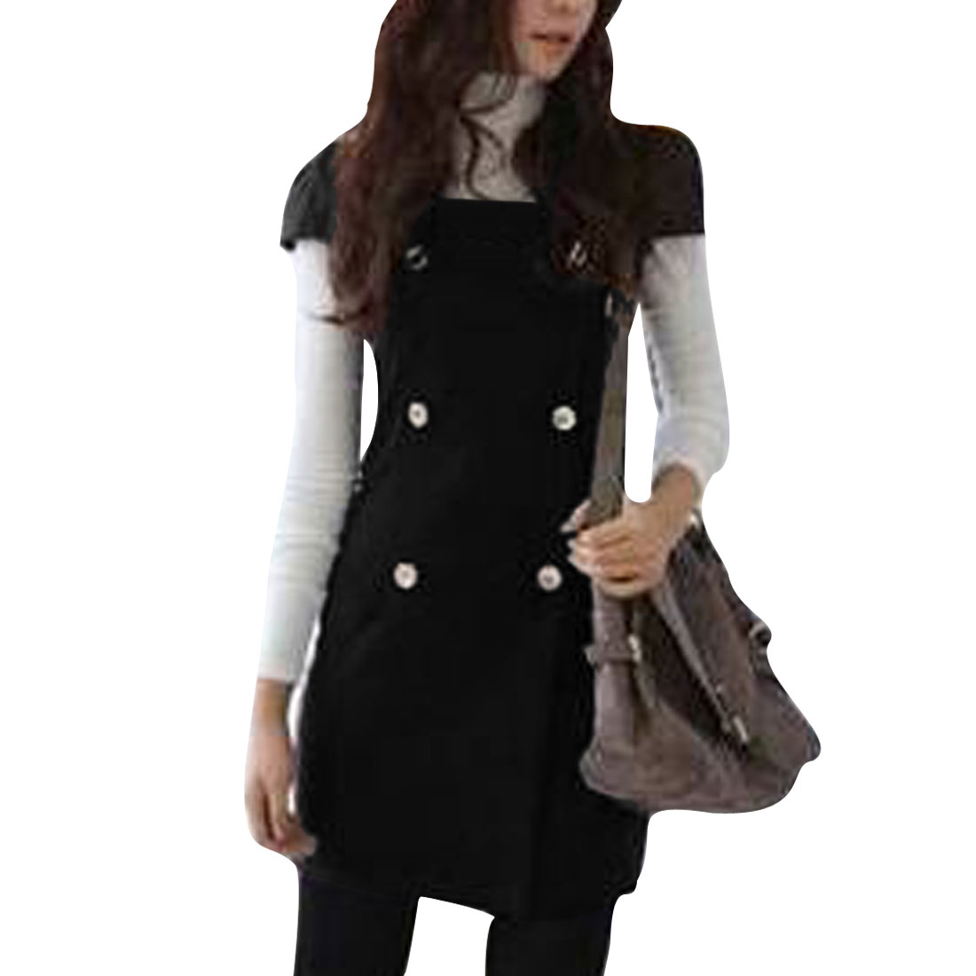 Women's Black Classic Double Breasted Cap Sleeves Square Neckline S Winter Dress