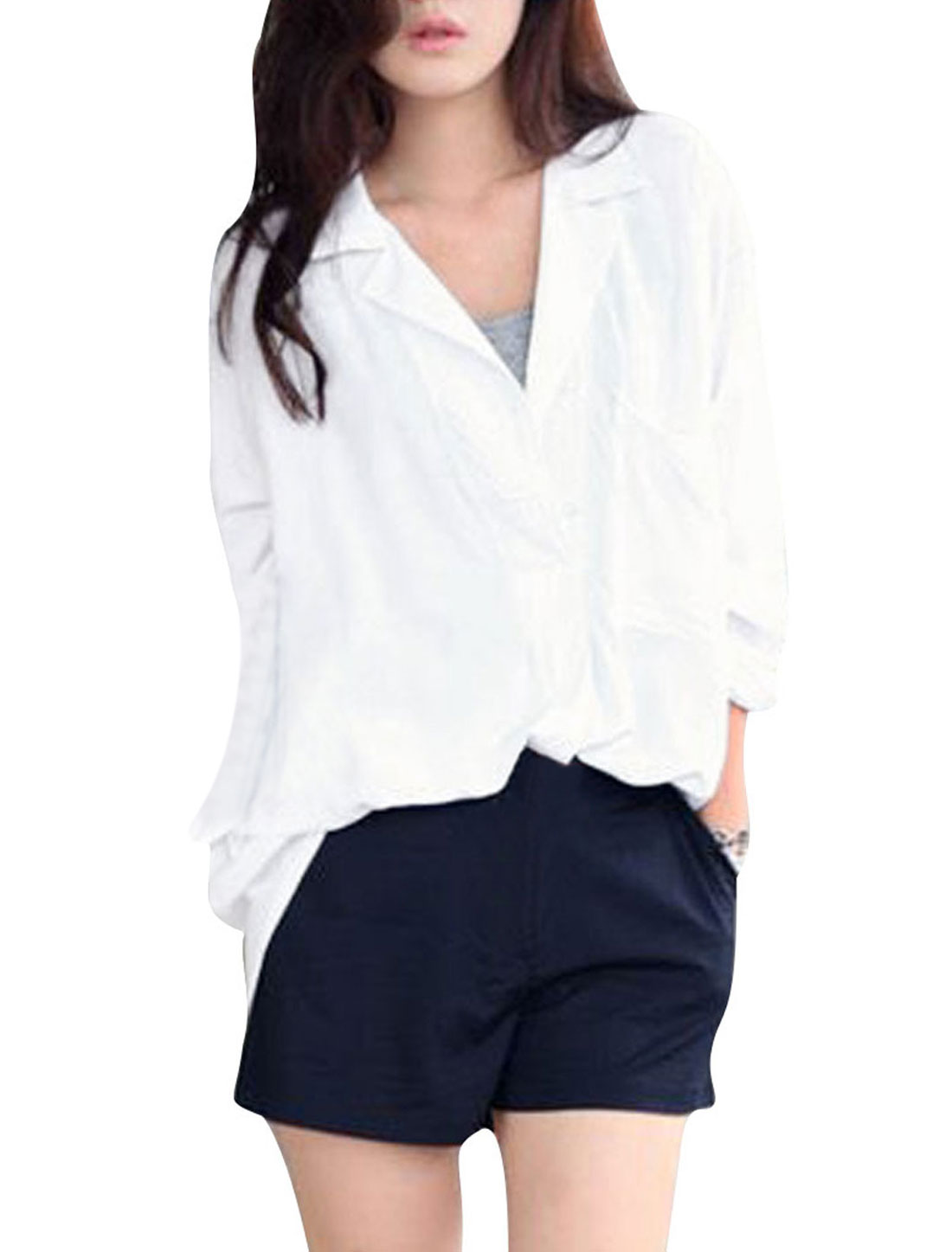 Women's Stylish Wing Collar Round Hem Long Sleeve White S Blouse Top